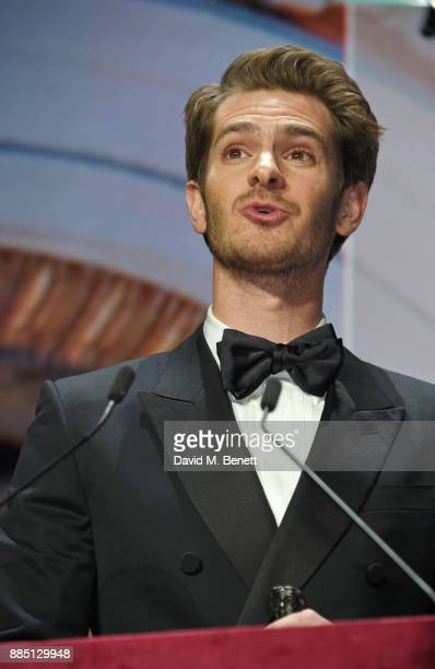 Andrew Garfield accepts Best Actor award at the London Evening Standard Theatre Awards 2017 at the Theatre Royal Drury Lane on December 3 2017 in...