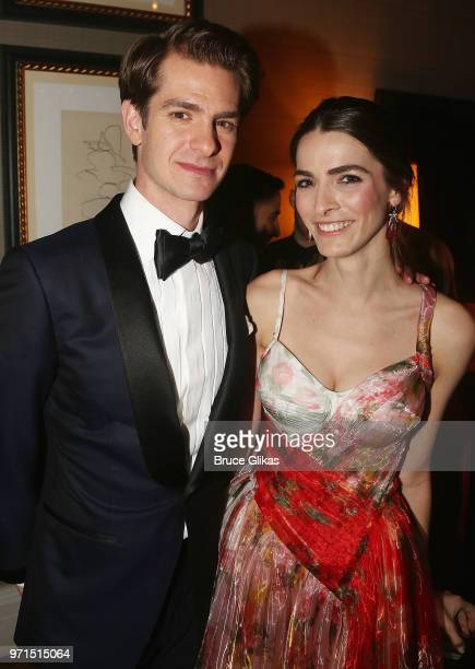 Andrew Garfield and Bee Shaffer pose at the 2018 OM Private Tony After Party at The Carlysle Hotel on June 10 2018 in New York City