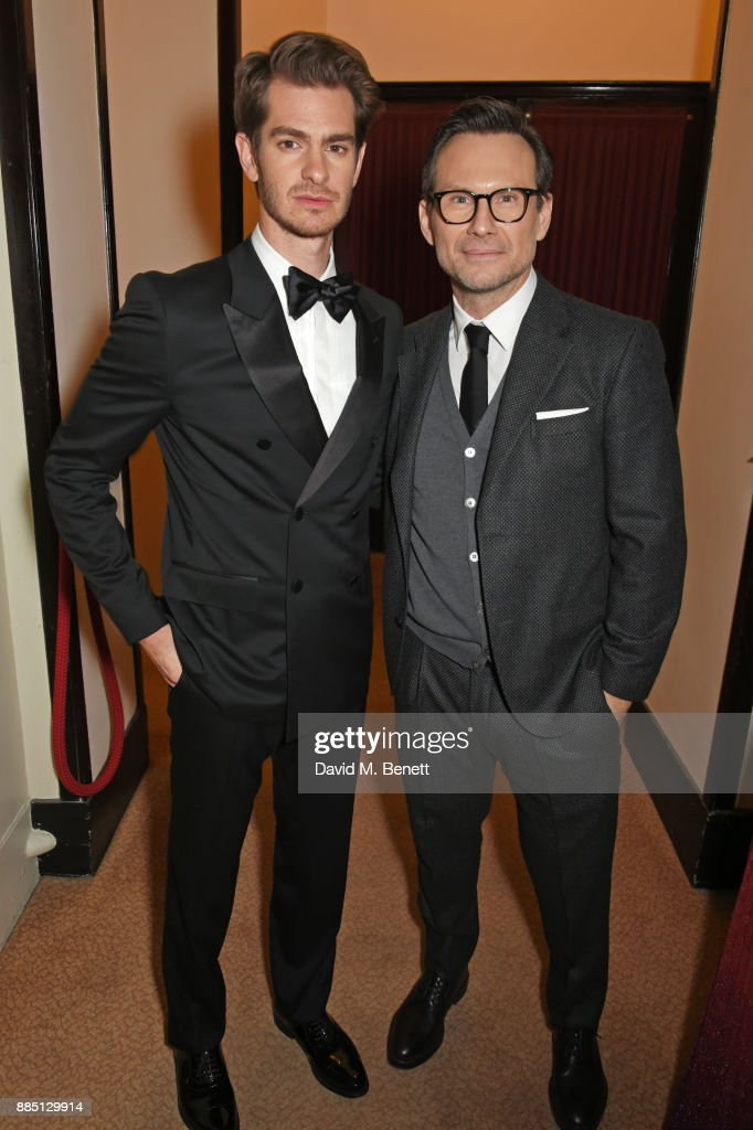 Andrew Garfield (L) and Christian Slater attend a drinks reception ahead of the London Evening Standard Theatre Awards 2017 at the Theatre Royal, Drury Lane, on December 3, 2017 in London, England.