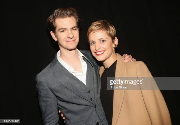 Andrew Garfield and Denise Gough pose at The 2018 Drama League Awards at The Marriott Marquis Times Square on May 18 2018 in New York City