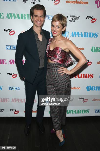 Andrew Garfield and Denise Gough pose backstage the The 63rd Annual Obie Awards at Terminal 5 on May 21 2018 in New York City