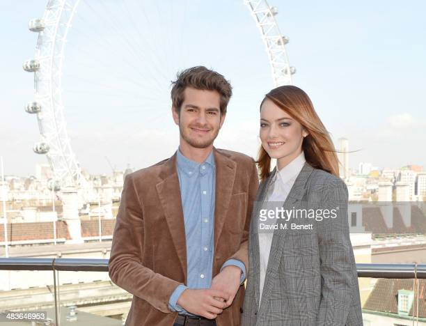 Andrew Garfield and Emma Stone attend 'The Amazing SpiderMan 2' photocall at Park Plaza Westminster Bridge Hotel on April 9 2014 in London England
