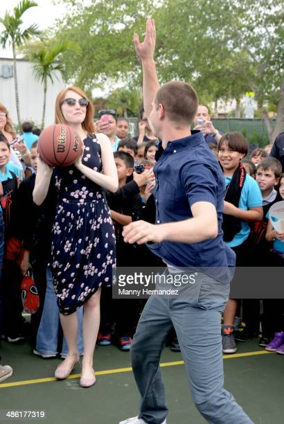 Andrew Garfield and Emma Stone participates in Be Amazing 2014 Miami at Hialeah Gardens Elementary on April 22 2014 in Hialeah Florida