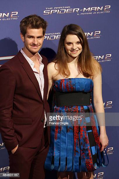 Andrew Garfield and Francesca Michielin attend 'The Amazing SpiderMan 2 Rise Of Electro' Rome Premiere on April 14 2014 in Rome Italy