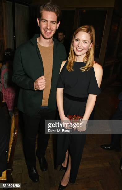 Andrew Garfield and Holliday Grainger attend a dinner cohosted by Harvey Weinstein Burberry Evgeny Lebedev ahead of the 2017 BAFTA film awards in...