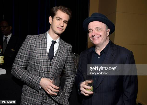 Andrew Garfield and Nathan Lane attend the Tony Honors Cocktail Party Presenting The 2018 Tony Honors For Excellence In The Theatre And Honoring The...