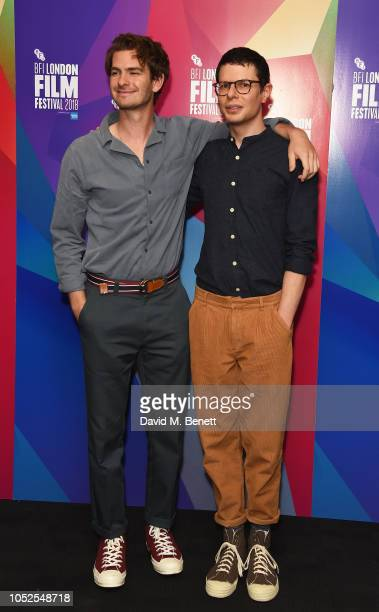 Andrew Garfield and Simon Amstell attend the World Premiere of 'Benjamin' during the 62nd BFI London Film Festival on October 19 2018 in London...