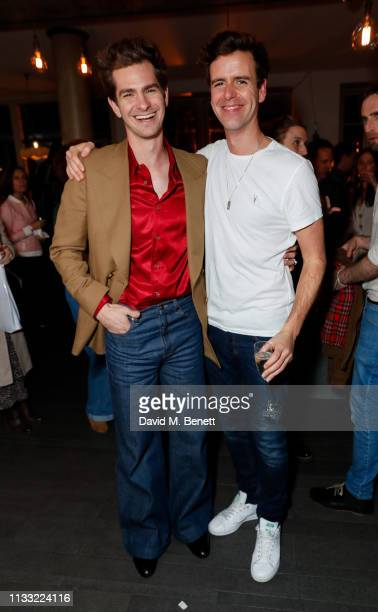 Andrew Garfield and Tom Stuart attends the press night after party for After Edward at Shakespeare's Globe on March 27 2019 in London England