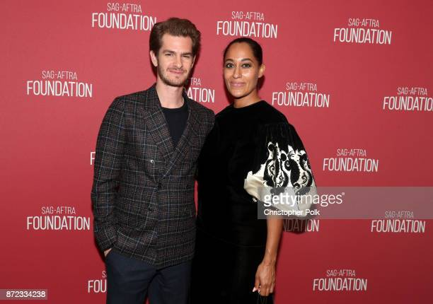 Andrew Garfield and Tracee Ellis Ross attend the SAGAFTRA Foundation Patron of the Artists Awards 2017 at the Wallis Annenberg Center for the...