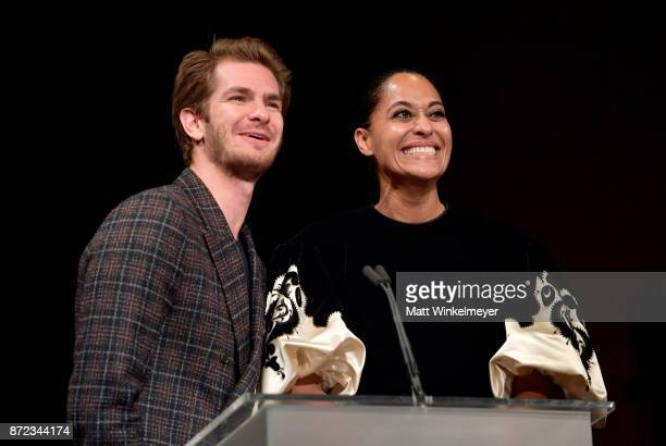 Andrew Garfield and Tracee Ellis Ross speak onstage during the SAGAFTRA Foundation Patron of the Artists Awards 2017 at the Wallis Annenberg Center...