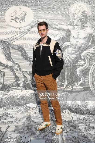 Andrew Garfield arrives at the Gucci show during Milan Fashion Week Autumn/Winter 2019/20 on February 20 2019 in Milan Italy