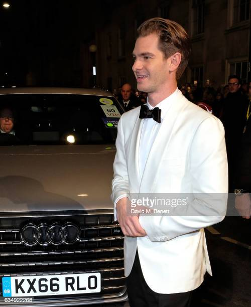 Andrew Garfield arrives in an Audi at the EE BAFTA Film Awards at the at Royal Albert Hall on February 12, 2017 in London, England.