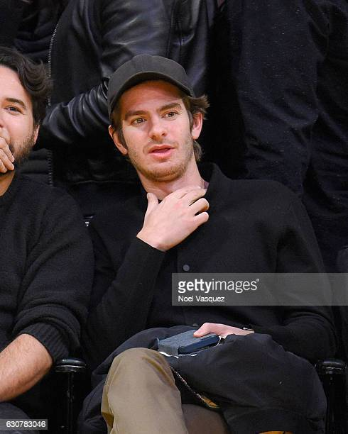 Andrew Garfield attends a basketball game between Toronto Raptors and the Los Angeles Lakers at Staples Center on January 1 2017 in Los Angeles...
