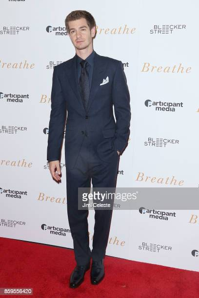 Andrew Garfield attends the New York screening of 'Breathe' at AMC Loews Lincoln Square 13 on October 9 2017 in New York City