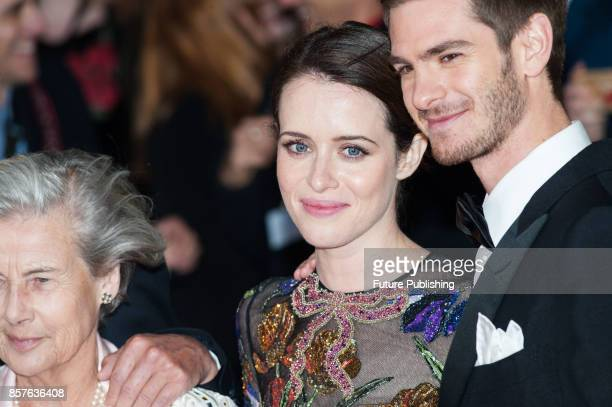 Andrew Garfield Claire Foy and Diana Cavendish attend the UK film premiere of Breathe at Odeon Leicester Square during the 61st BFI London Film...