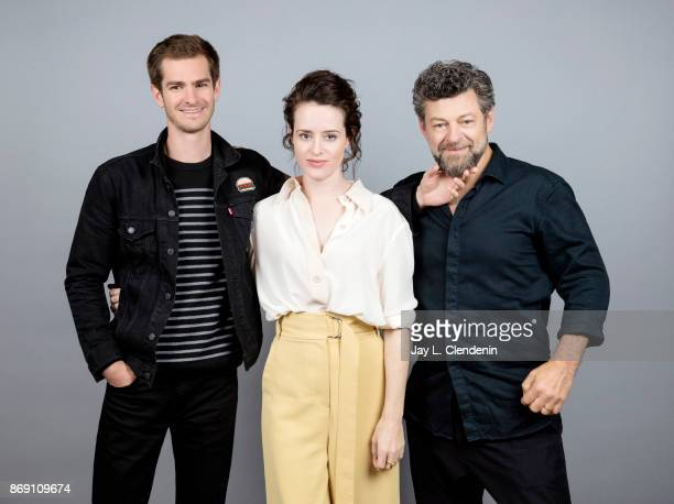 Andrew Garfield Claire Foy and director Andy Serkis from the film 'Breathe' pose for a portrait at the 2017 Toronto International Film Festival for...