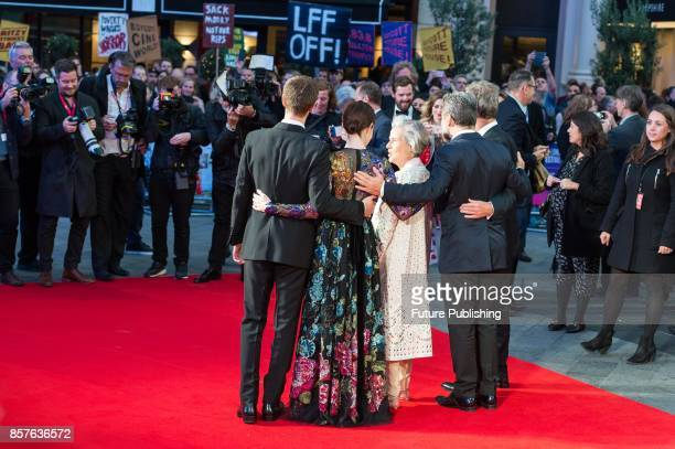 Andrew Garfield, Claire Foy, Diana Cavendish, Jonathan Cavendish and Andy Serkis attend the UK film premiere of Breathe at Odeon Leicester Square...