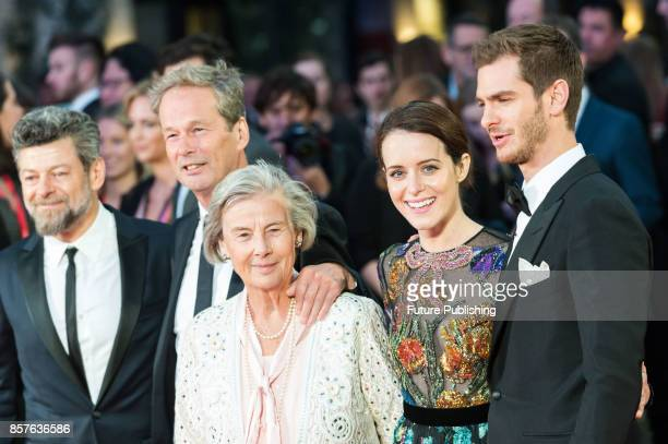 Andrew Garfield Claire Foy Diana Cavendish Jonathan Cavendish and Andy Serkis attend the UK film premiere of Breathe at Odeon Leicester Square during...