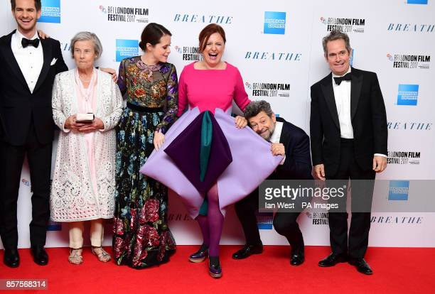 Andrew Garfield, Diana Cavendish, Claire Foy, Clare Stewart, Andy Serkis and Tom Hollander arriving for the Opening Night Gala screening of Breathe...