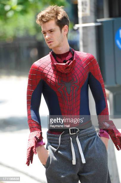 Andrew Garfield is seen on set of 'The Amazing SpiderMan 2' on June 22 2013 in New York City