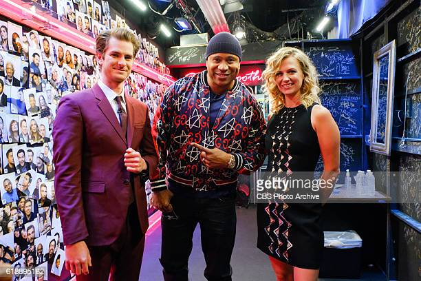 Andrew Garfield LL Cool J and January Jones backstage during 'The Late Late Show with James Corden' Thursday October 27 2016 On The CBS Television...