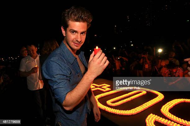 Andrew Garfield of The Amazing SpiderMan 2 attends the Earth Hour KickOff with SpiderMan The First Super Hero Ambassador for Earth Hour the global...