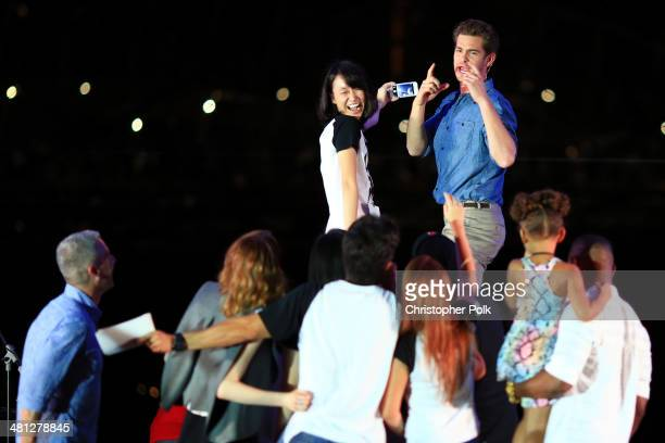Andrew Garfield of The Amazing SpiderMan 2 poses for a photo at the Earth Hour KickOff with SpiderMan The First Super Hero Ambassador for Earth Hour...