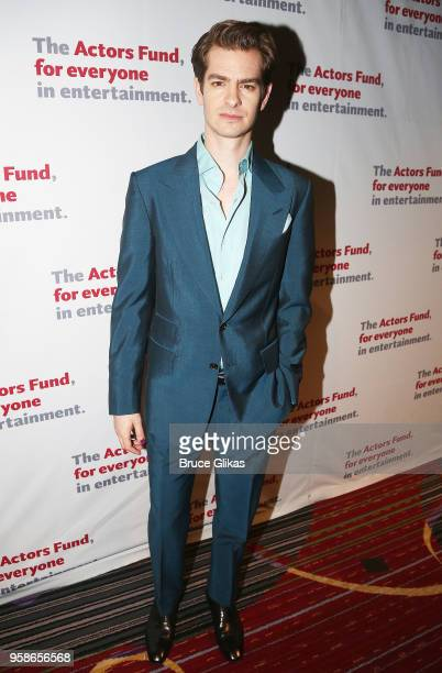 Andrew Garfield poses at The Actors Fund of America's Annual Gala Honoring Warren Beatty Uma Thurman Chita Rivera and Kenny Leon at The Marriott...