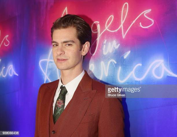 Andrew Garfield poses at the opening night after party for 'Angels in America' on Broadway at Espace on March 25 2018 in New York City