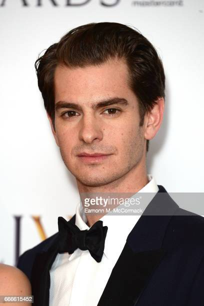 Andrew Garfield poses in the winners room at The Olivier Awards 2017 at Royal Albert Hall on April 9 2017 in London England