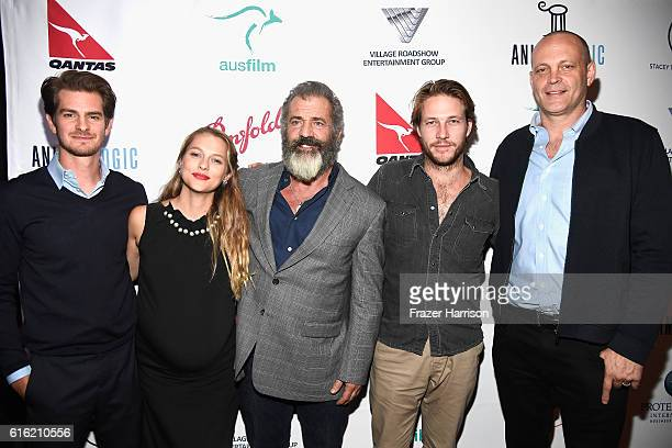 Andrew Garfield Teresa Palmer Mel Gibson Luke Bracey Vince Vaughn attend Australians In Film Presents 'Hacksaw Ridge' Screening and QA With Mel cast...