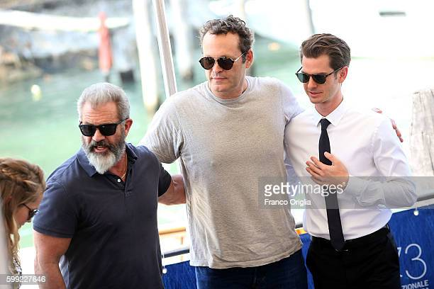 Andrew Garfield Vince Vaughn and Mel Gibson are seen during 73rd Venice Film Festival on September 4 2016 in Venice Italy