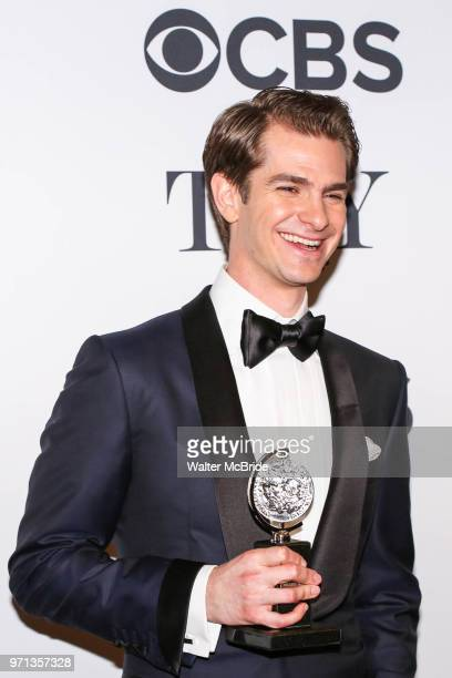 Andrew Garfield winner of the award for Best Actor in a Play for 'Angels in America' poses in the 72nd Annual Tony Awards Press Room at 3 West Club...