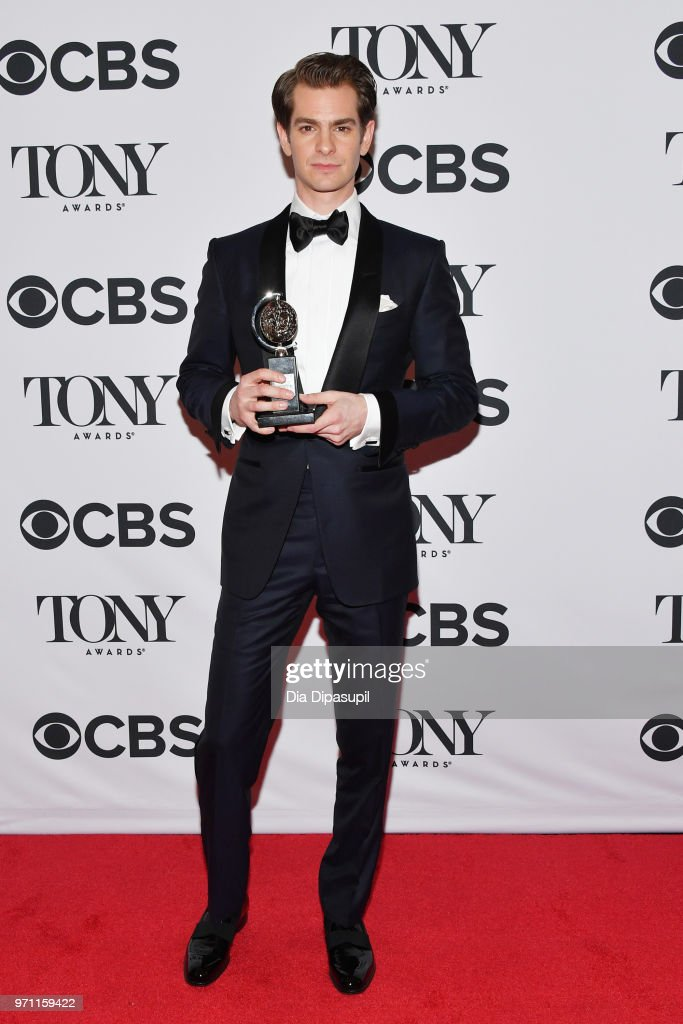 """Andrew Garfield, winner of the award for Best Performance by an Actor in a Leading Role in a Play for """"Angels in America,"""" poses in the 72nd Annual Tony Awards Media Room at 3 West Club on June 10, 2018 in New York City."""
