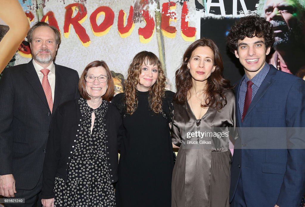 Andrew Garman, Ann McDonough, Sally Murphy, Jessica Hecht and Ben Edelman pose at The Opening Night of 'Admissions' at The Mitzi E. Newhouse Theater Lobby on March 12, 2018 in New York City.