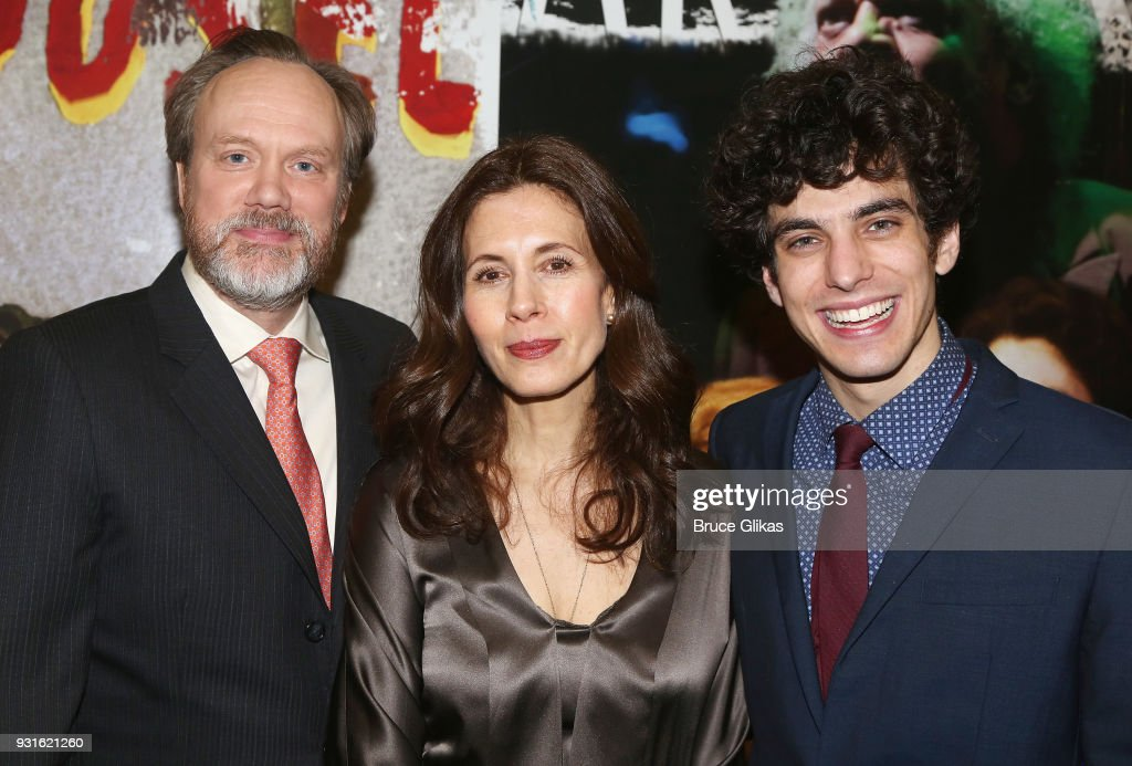 Andrew Garman, Jessica Hecht and Ben Edelman pose at The Opening Night of 'Admissions' at The Mitzi E. Newhouse Theater Lobby on March 12, 2018 in New York City.