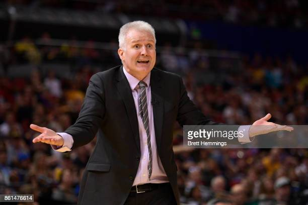 Andrew Gaze coach of the Kings reacts during the round two NBL match between the Sydney Kings and the Illawarra Hawks at Qudos Bank Arena on October...