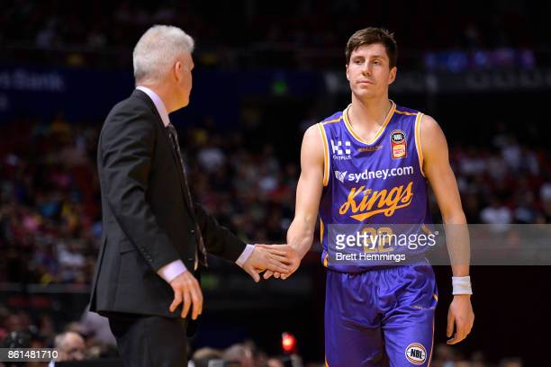 Andrew Gaze coach of the Kings reacts with Dane Pineau of the Kings during the round two NBL match between the Sydney Kings and the Illawarra Hawks...