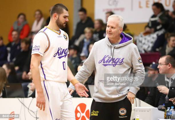 Andrew Gaze coach of the Sydney Kings speaks with Isaac Humphries during the 2017 NBL Blitz preseason match between the Sydney Kings and the Brisbane...