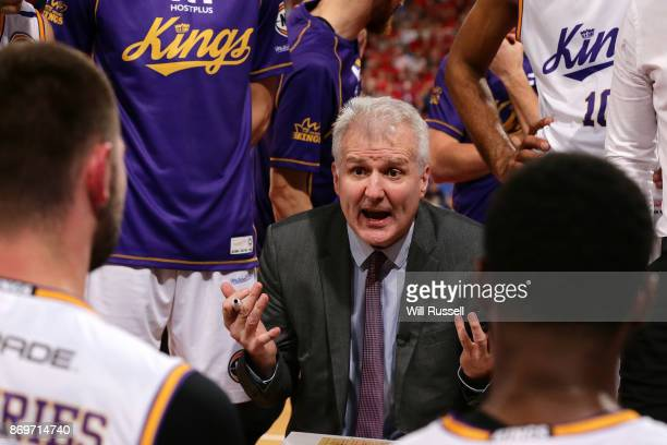 Andrew Gaze head coach of the Kings addresses his players at a timeout during the round five NBL match between the Perth Wildcats and the Sydney...
