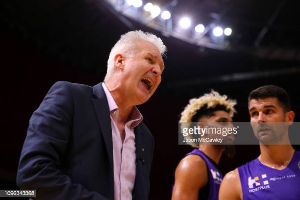 Andrew Gaze head coach of the Kings reacts during the round 14 NBL match between the Sydney Kings and the Adelaide 36ers at Qudos Bank Arena on...