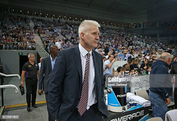 Andrew Gaze Head Coach of the Sydney Kings arrives on court during the round six NBL match between Melbourne United and the Sydney Kings at Hisense...