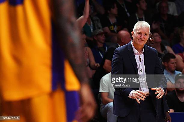 Andrew Gaze head coach of the Sydney Kings reacts during the round 11 NBL match between Adelaide 36ers and the Sydney Kings on December 16 2016 in...