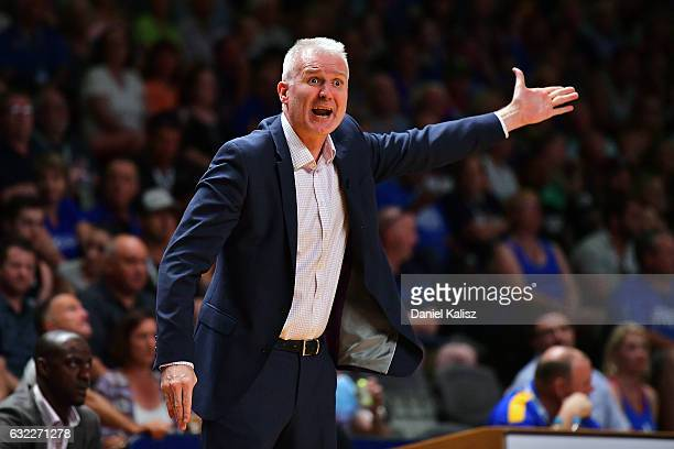 Andrew Gaze head coach of the Sydney Kings reacts during the round 16 NBL match between the Adelaide 36ers and the Sydney Kings at Titanium Security...