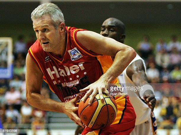 Andrew Gaze of the Tigers in action during the round 16 NBL match between the Melbourne Tigers and the Adelaide 36ers at the State Netball and Hockey...