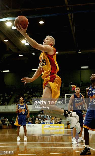 Andrew Gaze of the Tigers lays one up during the NBL Basketball game between Sydney Razorbacks and the Melbourne Tigers at the States Sports Centre...