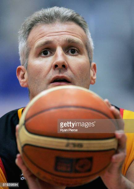 Andrew Gaze of the Tigers warms up before his 600th NBL match the round 16 NBL match between the Melbourne Tigers and the Adelaide 36ers at the State...