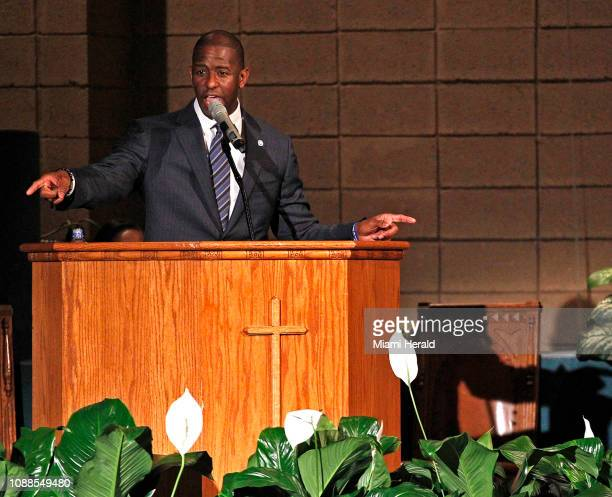 Andrew Gillum addresses supporters on Tuesday Nov 6 2018