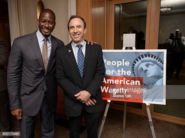 Andrew Gillum and Andrew Tobias attend attend the Get Out The Vote celebration for People For The American Way on November 1 2016 in New York City