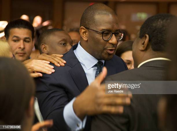 Andrew Gillum Forward Florida Chair greets people after speaking during The Elections Subcommittee field hearing on 'Voting Rights and Election...